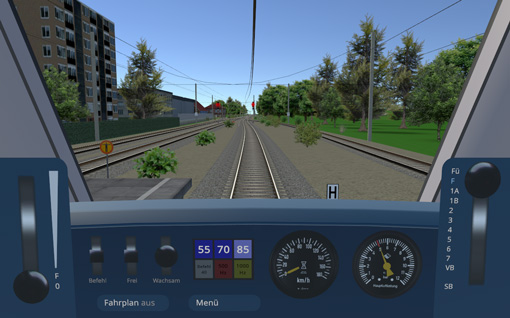educational train driving simulator for Deutsche Bahn