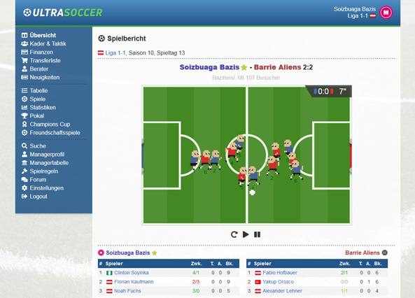 Ultrasoccer football manager browser game